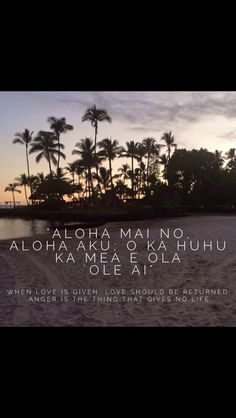 "Aloha Mai No. ""When love is given, love should be returned. Mahalo Hawaii, Maui Hawaii, Kauai, Hawaiian Phrases, Hawaiian Sayings, Hawaii Quotes, Aloha Quotes, Life Quotes, Island Girl"