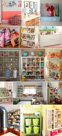 Playroom organization- love the middle one with window seat and shelving on either side.