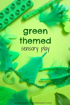 Here is a green themed sensory play and discovery space for babies and toddlers using only green objects. Texture awareness and sensory learning is learnt. Sensory Activities Toddlers, Color Activities, Infant Activities, Sensory Play, Sensory Table, Sensory Rooms, Sensory Bins, Educational Activities, Toddler Play