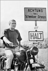 Premium-Poster Steve McQueen in Gesprengte Ketten - Celebrity Collection Classic Car Show, Classic Cars, Actor Steve Mcqueen, Steve Mcqueen Quotes, Wisdom Thoughts, Motorcycle Art, Steve Mcqueen Motorcycle, Hyabusa Motorcycle, Motorcycle Posters