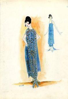 "<em>""Evening Dress, Callot Soeurs, 1917. Light blue tea length dress, tubular silhouette; back panel in blue and gold, train; sheer short blue sleeves. (Bendel Collection, HB 026-15)""</em>, 1917. Fashion sketch, 12.25 x 8.5 in (31.1 x 21.6 cm). Brooklyn Museum, Fashion sketches. (Photo: Brooklyn Museum, SC01.1_Bendel_Collection_HB_026-15_1917_Callot_SL5.jpg"