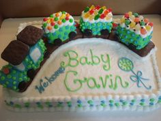 Baby shower train cake.  Train was made out of French Vanilla cake and candies as well.