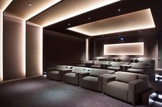 Contemporary Media Room Design Ideas - Media rooms, Movie theater, Basement movie room, Movie rooms, Basement movie room and Movie theater basement.