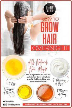 How To Grow Your Hair Overnight#grow #hair #overnight#grow #hair #overnight #overnightgrow #HairCareOil Hair Mask For Damaged Hair, Hair Mask For Growth, Natural Hair Mask, Diy Hair Mask, Hair Masks, Dry Hair, Soft Hair, Shiny Hair, Natural Skin