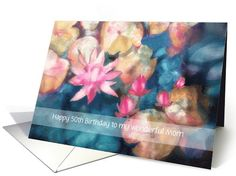 Happy Birthday, customizable card for any relation, water lilies card