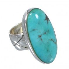 Turquoise Southwest Authentic Sterling Silver Ring Size 7 AX84258-0