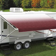 "Carefree's Burgundy Shale Fade Roll Out Awning features a superior vinyl fabric construction called ""Weatherguard"" – this protects the fabric from the sun, scrapes and exposure when the awning is rolled up. The Carefree Fiesta has long been a favourite amongst Australia RVers. The 8' – 14' awnings project up to 7'3"" (221cm) while awnings from 15' – 21' project up to 7'9"" (236cm)."