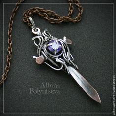 """Кулон-меч из меди и серебра """"Звезда Севера"""" с кубическим цирконием - тёмно-фиолетовый"""