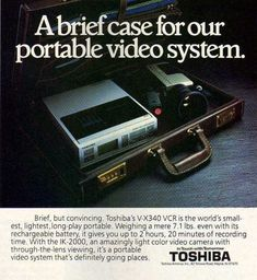 A portable video system from the 1980s. Nowadays, you can do most of this from your cell phone. #Flashback