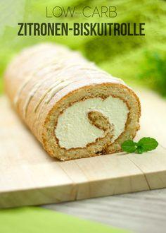 Die Zitronen-Biskuitrolle ist Low Carb, lecker und glutenfrei.
