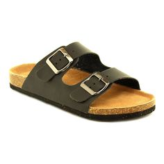 34b455f32231 Women s Cork Slides Summer Buckle Two Straps Flat Sandals Slippers Casual  Shoes black 9  gt