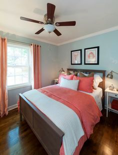 Bedroom paint ideas grey and blue inspiring grey blue bedroom color schemes with best coral bedroom Blue Bedroom Colors, Blue Gray Bedroom, Bedroom Turquoise, House Of Turquoise, Bedroom Color Schemes, Bedroom Red, Coral Mint Bedroom, Coral Walls Bedroom, Blue Rooms