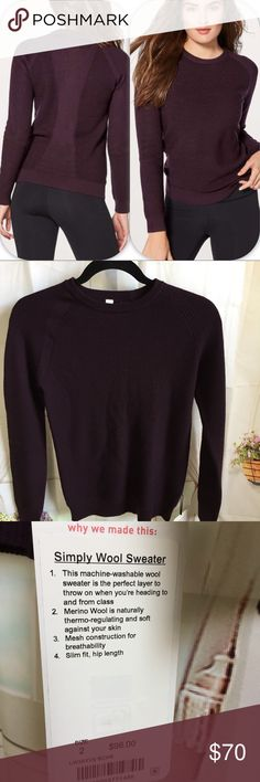 NWT BCHR LULULEMON SIMPLY WOOL SWEATER CHERRY Brand: Lululemon Athletica simply wool sweater      Condition: New with tag || Size 2 or size 8 || select your size | Black Cherry Deep burgundy  📌NO  TRADES  🛑NO LOWBALL OFFERS  ⛔️NO RUDE COMMENTS  🚷NO MODELING  ☀️Please don't discuss prices in the comment box. Make a reasonable offer and I'll either counter, accept or decline.   I will try to respond to all inquiries in a timely manner. Please check out the rest of my closet, I have various…