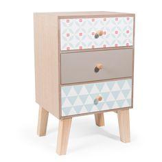 Mueble con 3 cajones de madera  Al. 24 cm SEVENTIES