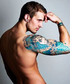 Blue Ink Gorgeous Sleeve Tattoo Designs For Men