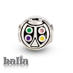 Colorful Bug: A sweet lady bug with multicoloured enamel spots on sterling silver: designed exclusively by Halia, this bead fits other popular bead-style charm bracelets as well. Sterling silver, hypo-allergenic and nickel free.       $42.00