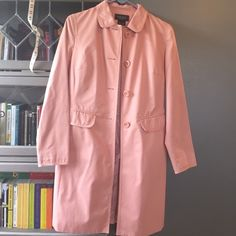 Nine West Spring Jacket Lightweight pale pink spring jacket with adorable pink and black polka dot lining. Shoulder to shoulder 17 inches. 34.5 inches long. Nine West Jackets & Coats Trench Coats