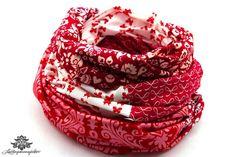 Patchwork-Loop rot weiß von #Lieblingsmanufaktur