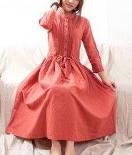 Buttons Chest String Waist Linen Dress