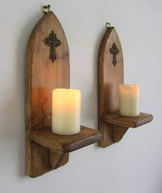 Pair Of Church / Gothic Style Wall Sconce Candle Holders With Antique  Bronze Cross / Crucifix