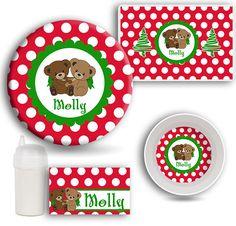 Kids DINNERWARE Set Teddy Bear Tableware by LimeNCoconutDesigns