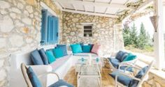 outdoor seating area Traditional villa for 8 in North Zakynthos, Greece, near The Peligoni Club with a pool