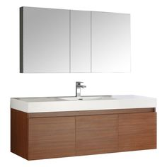 Fresca Mezzo 60 Teak Wall Hung Single Sink Modern Bathroom Vanity w/ Medicine Cabinet Floating Bathroom Vanities, Double Sink Vanity, White Vanity Bathroom, Single Sink Bathroom Vanity, Floating Vanity, Vanity Sink, Modern Bathroom, Master Bathroom, Bathroom Ideas