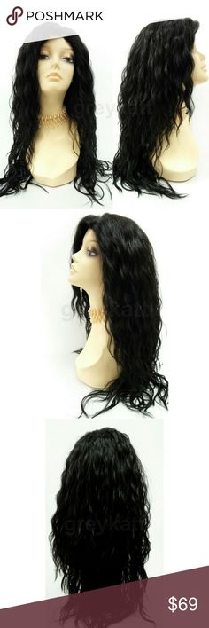 """Black long wavy lace front heat resistant wig NOTE: The sheer lace for this wig has already been trimmed and matched to the hairline  Long and layered wavy wig featuring an adjustable hair part and a lace front that allows a seamless blend with your scalp for a more realistic look. Made with premium heat resistant/safe synthetic fiber.  Color: Off Black (1B) Length: 23"""" Inches Circumference: Default at 21"""" with adjustable cap (max 22"""") Materials: Premium Heat Resistant Futura Fiber  Wig…"""
