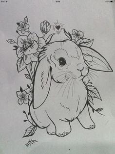 Cute rabbit tattoo design - inspiration for tattoos .- Niedliches Kaninchen Tattoo Design – Inspiration für Tattoos – … Cute rabbit tattoo design – inspiration for tattoos – … – – - Pencil Art Drawings, Art Drawings Sketches, Cute Drawings, Animal Drawings, Tattoo Drawings, Flower Drawings, Rabbit Tattoos, Bunny Tattoos, Hase Tattoos