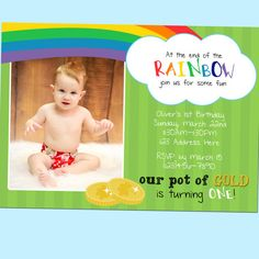 End of the Rainbow Birthday Invitation, St Patricks Day, Rainbow, First Birthday, With Photo - Printable - 5x7 by GoodHueDesigns