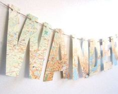 Wanderlust travel thememap banner bon voyage party by magpieandmax Travel Bedroom, Travel Nursery, Nursery Banner, Map Nursery, Bon Voyage Party, Map Crafts, Going Away Parties, Baby Shower Niño, Vintage Maps