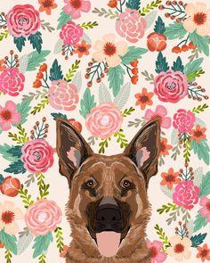 German Shepherd florals flowers spring pet portrait dog art funny german shepherd painting art Art Print