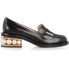 Nicholas Kirkwood Casati pearl-heeled leather loafer (£585) ❤ liked on Polyvore featuring shoes, loafers, black, black shoes, black loafers, decorating shoes, black leather shoes and loafer shoes