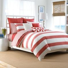 Lawndale Coral Full/Queen Comforter Set: The perfect balance of modern and timeless, this comforter set's yarn-dyed stripe will look sharp season after season. Decor, Comforter Sets, Duvet Sets, Comforters, Home, Bedding Shop, Bed, Duvet Cover Sets, Bedding Sets