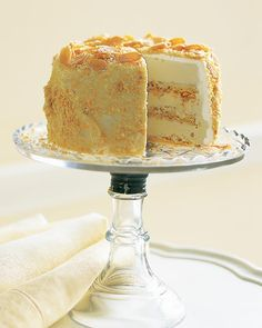 Toasting the almonds gives this sponge cake a golden color and a nuttier flavor. Use this recipe to make our Almond-Crunch Ice Cream Cake. Almond Sponge Cake Recipe, Sponge Cake Recipes, Toasted Almond Cake Recipe, Martha Stewart, Cream Cake, Ice Cream, Whipped Cream, Almond Bars, Almond Cream