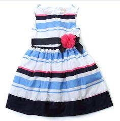 Place Blue Stripes Flower Dress - Wedding.Maternity.Women Online Shopping Mall