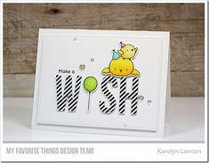 Stamps: BB Birthday Chicks  Die-namics: BB Birthday Chicks, Wish, A2 Stitched Rectangle STAX Set 2    Karolyn Loncon  #mftstamps