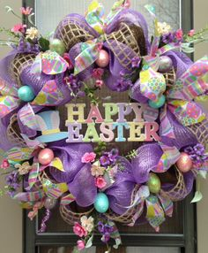 """""""HAPPY EASTER"""" - XL Chic Deco-Mesh Easter Egg Wreath Decoration, $ 139.95 by DecorClassicFlorals on Etsy"""