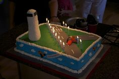 Airport + air traffic control tower cake