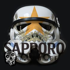 Sapporo Trooper design by mancinasART! Sithfits.com #StarWars #Stormtrooper #Beer #DrinkBeer #SaveWaterDrinkBeer #Sapporo #Japan #Sithfits #MillenniumFiendSkull #Mancinas #mancinasART More Beer, Sapporo, Starwars, Football Helmets, Skull, Japan, Design, Star Wars