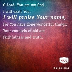 NKJV Verse of the Day: Isaiah 25:1