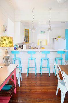 Coastal Kitchen. Coastal Kitchen with turquoise and yellow decor. #Coastal #CoastalKitchen #Turquoise Via House of Turquoise. Designed by Jane Coslick.
