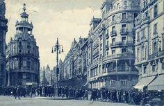 Primer semáforo de España. Cruce de la calle de Alcalá con la Gran Vía Madrid 1926