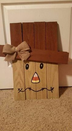 Fall scarecrow (to make it reversible, make a snowman on the other side)
