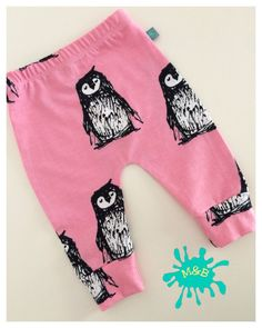 NEW Penguin baby leggings Baby clothes pink baby by MaebelleAndBo