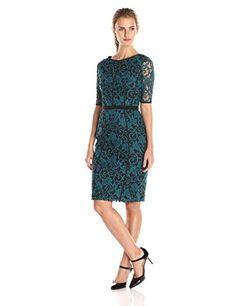Adrianna Papell Women's Elbow Sleeve Seamed Lace Sheath Dress