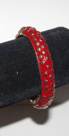 KJL Bangle Bracelet - Red Enamel with Gold Stars - S2474