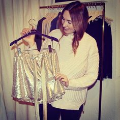 """""""@emmasmode in the showroom to check out Spring News coming in Jan, she got hooked on our sequins shorts#bymalina #ss14 #springnews"""" Photo taken by @bymalinas on Instagram, pinned via the InstaPin iOS App! http://www.instapinapp.com (12/12/2014)"""