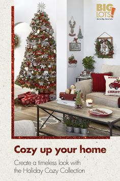 Turn your home into a timeless classic with Big Lots' Holiday Cozy Collection. Find traditional reds and greens that mingle with silver accents and fun icons. Tap the Pin to prep your home for the holidays!