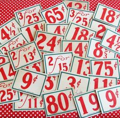 Dime Store Days..30 Old Store Display Price Signs- Not sure what for, but I like these.